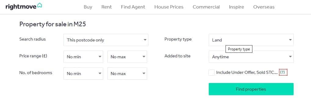 You can find land for sale on Rightmove